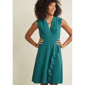 Modcloth V-Neck Ruffle Dress in Teal